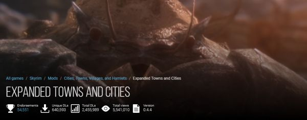 Expanded Towns and Cities Skyrim mod