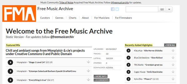Free Music Archive Music downloading site