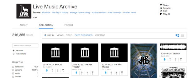 Live Music Archive music loading site