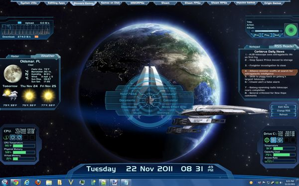 Mass Effect rainmeter skin