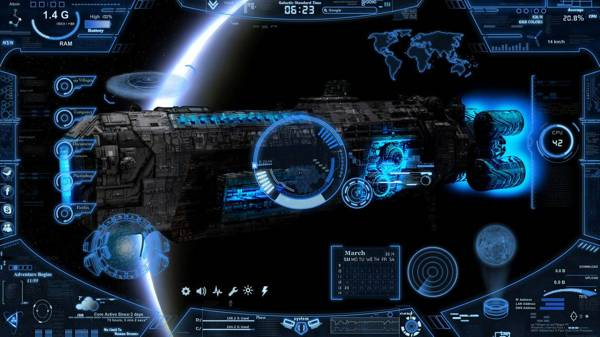 Neon Space rainmeter skin