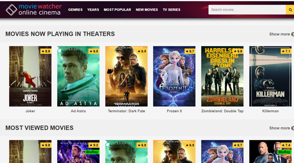 MovieWatcher for online movies